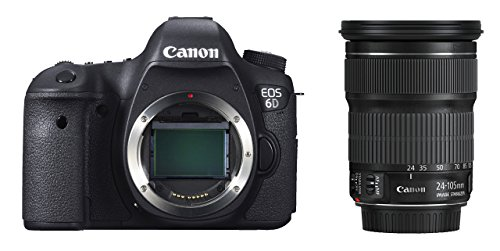 Canon EOS 6D SLR-Digitalkamera (20,2 Megapixel, CMOS-Vollformatsensor, 7,6 cm (3 Zoll) Display, Full-HD) Kit inkl. 24-105 mm IS STM, schwarz - 1