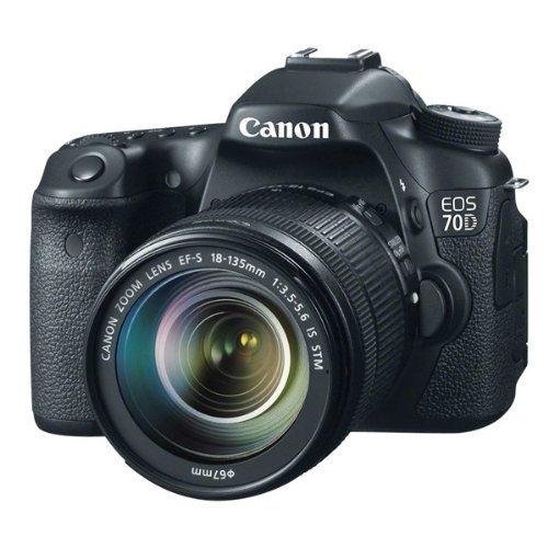 Canon EOS 70D SLR-Digitalkamera (20,2 Megapixel CMOS-APS-C Sensor, 7,7 cm (3 Zoll) TFT-Display, 0,95-fach Zoom, mini-HDMI, 3,5mm Klinke) inkl. EF-S 18-135mm Objektiv schwarz - 1