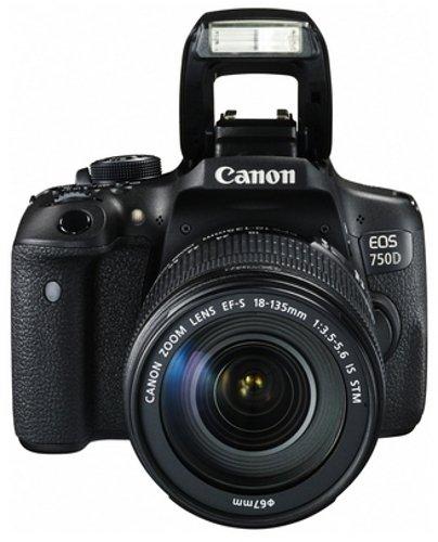 Canon EOS 750D SLR-Digitalkamera (24 Megapixel, APS-C CMOS-Sensor, WiFi, NFC, Full-HD) Kit inkl. EF-S 18-135 mm IS STM Objektiv schwarz - 1
