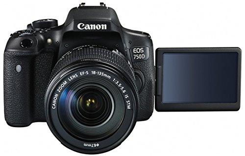 Canon EOS 750D SLR-Digitalkamera (24 Megapixel, APS-C CMOS-Sensor, WiFi, NFC, Full-HD) Kit inkl. EF-S 18-135 mm IS STM Objektiv schwarz - 2
