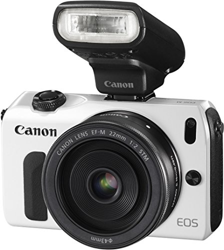 Canon EOS M kompakte Systemkamera (18 Megapixel, 7,6 cm (3 Zoll) Display, Full HD, Touch-Display) Kit inkl. EF-M 22mm 1:2 STM Pancake-Objektiv, Speedlite 90EX und Mount Adapter EF-EOS M weiß - 1