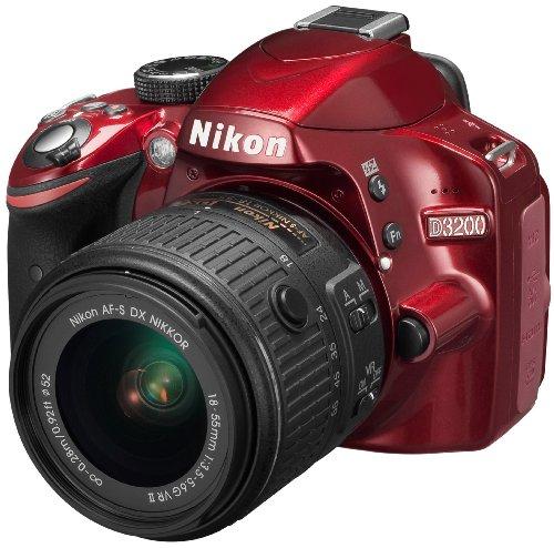 Nikon D3200 SLR-Digitalkamera (24 Megapixel, 7,4 cm (2,9 Zoll) Display, Live View, Full-HD) Kit inkl. AF-S DX 18-55 VR II Objektiv rot - 1