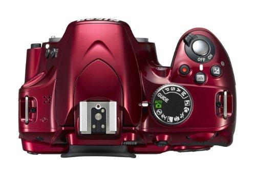 Nikon D3200 SLR-Digitalkamera (24 Megapixel, 7,4 cm (2,9 Zoll) Display, Live View, Full-HD) Kit inkl. AF-S DX 18-55 VR II Objektiv rot - 4