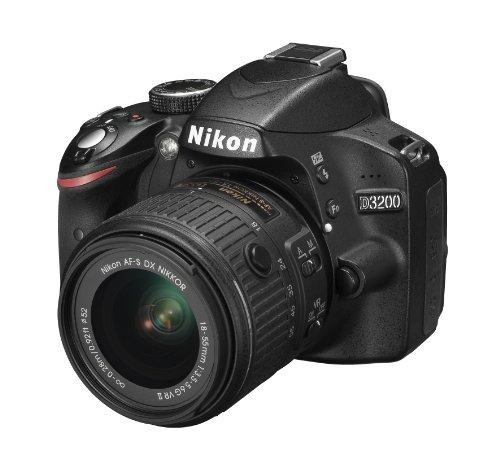 Nikon D3200 SLR-Digitalkamera (24 Megapixel, 7,4 cm (2,9 Zoll) Display, Live View, Full-HD) Kit inkl. AF-S DX 18-55 VR II Objektiv schwarz - 1