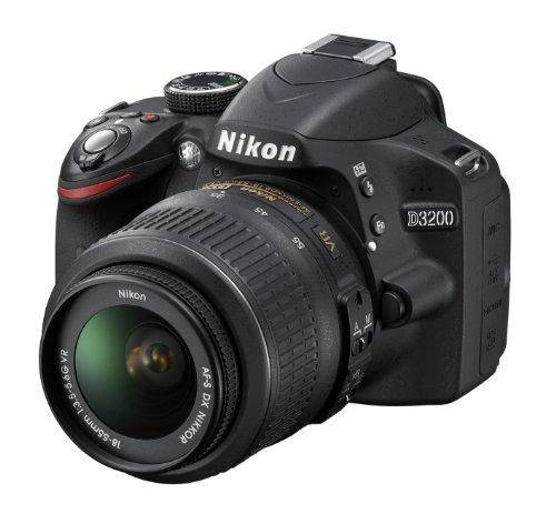 Nikon D3200 SLR-Digitalkamera (24 Megapixel, 7,4 cm (2,9 Zoll) Display, Live View, Full-HD) Kit inkl. AF-S DX 18-55 VR Objektiv schwarz - 1