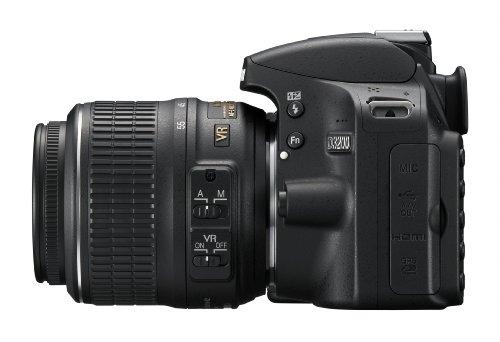 Nikon D3200 SLR-Digitalkamera (24 Megapixel, 7,4 cm (2,9 Zoll) Display, Live View, Full-HD) Kit inkl. AF-S DX 18-55 VR Objektiv schwarz - 4