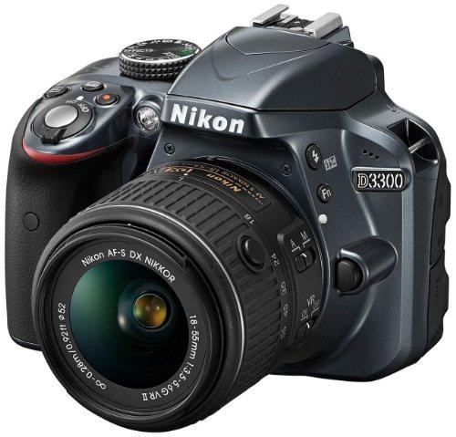 Nikon D3300 SLR-Digitalkamera Kit (24 Megapixel, 7,6 cm (3 Zoll) TFT-LCD-Display, Live View, Full-HD) inkl. AF-S DX 18-55 VR II Objektiv anthrazit - 1