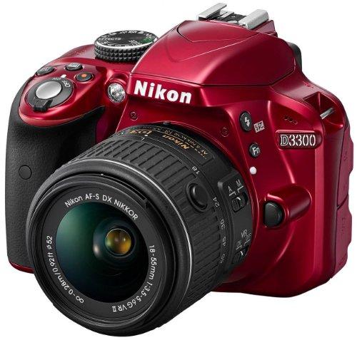 Nikon D3300 SLR-Digitalkamera Kit (24 Megapixel, 7,6 cm (3 Zoll) TFT-LCD-Display, Live View, Full-HD) inkl. AF-S DX 18-55 VR II Objektiv rot - 1
