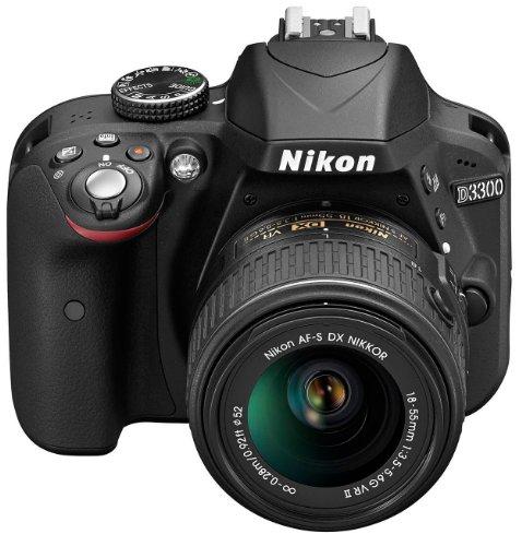 Nikon D3300 SLR-Digitalkamera Kit (24 Megapixel, 7,6 cm (3 Zoll) TFT-LCD-Display, Live View, Full-HD) inkl. AF-S DX 18-55 VR II Objektiv schwarz - 3