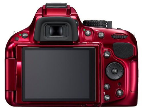 Nikon D5200 SLR-Digitalkamera (24,1 Megapixel, 7,6 cm (3 Zoll) TFT-Display, Full HD, HDMI) nur Gehäuse rot - 1