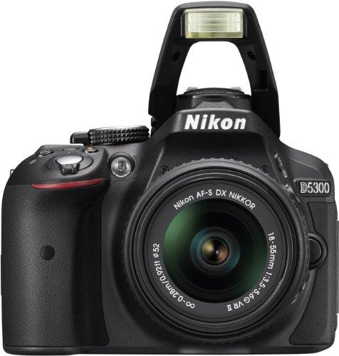 Nikon D5300 SLR-Digitalkamera (24,2 Megapixel, 8,1 cm (3,2 Zoll) LCD-Display, Full HD, HDMI, WiFi, GPS, AF-System mit 39 Messfeldern) Kit inkl. AF-S DX 18-55 VR II Objektiv schwarz - 4