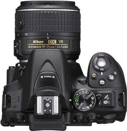 Nikon D5300 SLR-Digitalkamera (24,2 Megapixel, 8,1 cm (3,2 Zoll) LCD-Display, Full HD, HDMI, WiFi, GPS, AF-System mit 39 Messfeldern) Kit inkl. AF-S DX 18-55 VR II Objektiv schwarz - 5