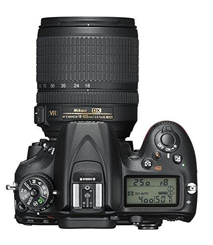 Nikon D7200 SLR-Digitalkamera (24 Megapixel, 8 cm (3,2 Zoll) LCD-Display, Wi-Fi, NFC, Full-HD-Video) Kit inkl. AF-S DX Nikkor 18-105 mm 1:3,5-5,6G ED VR Objektiv - 7