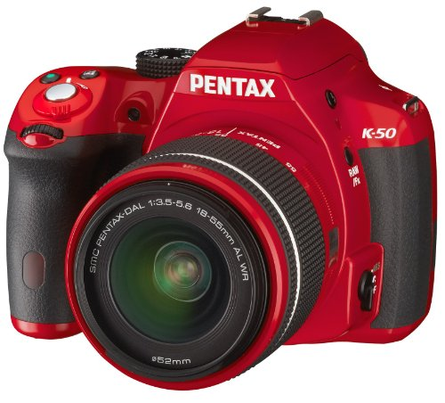 Pentax K 50 SLR-Digitalkamera (16 Megapixel, APS-C CMOS Sensor, 1080p, Full HD, 7,6 cm (3 Zoll) Display, Bildstabilisator) rot inkl. Objektiven DA L 18-55 mm WR & DA L 50-200 mm WR - 3