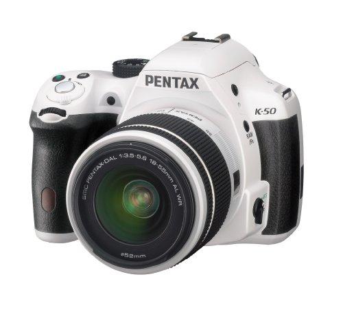 Pentax K 50 SLR-Digitalkamera (16 Megapixel, APS-C CMOS Sensor, 1080p, Full HD, 7,6 cm (3 Zoll) Display, Bildstabilisator) weiß inkl. Objektiv DA L 18-55 mm WR - 1